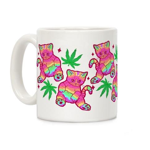 Rainbow Weed Kitty Coffee Mug