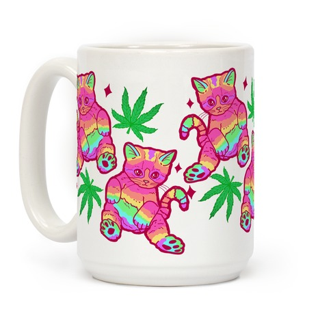 Rainbow Weed Kitty Coffee Mug