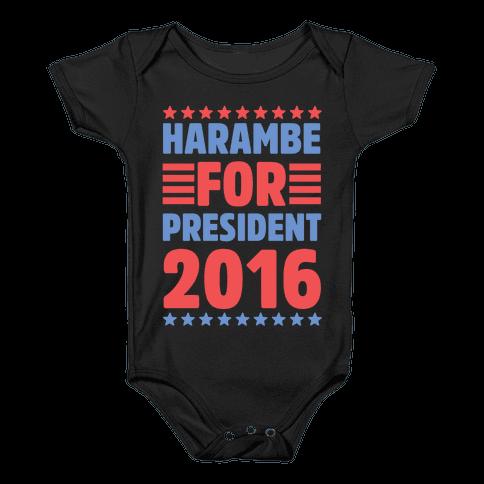 Harambe For President 2016 Baby Onesy