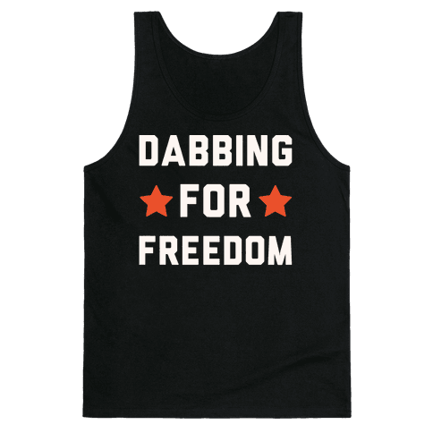 Dabbing For Freedom White Print Tank Top