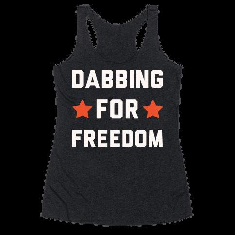 Dabbing For Freedom White Print Racerback Tank Top