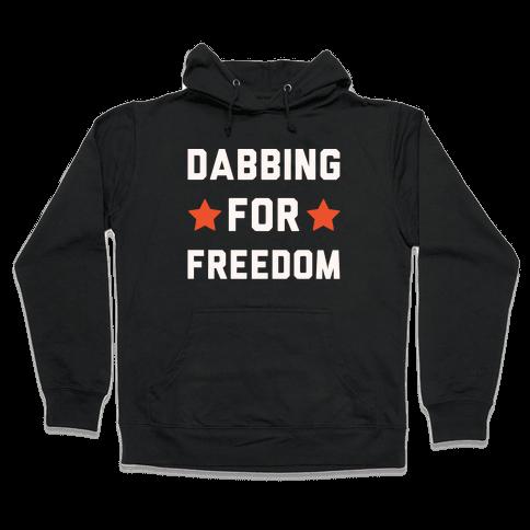 Dabbing For Freedom White Print Hooded Sweatshirt