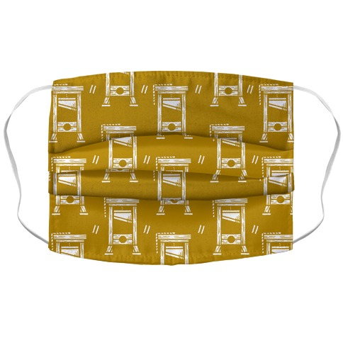 Guillotine Pattern Mustard Yellow Accordion Face Mask