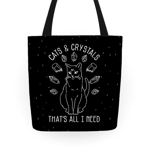 Cats and Crystals White On Black Tote