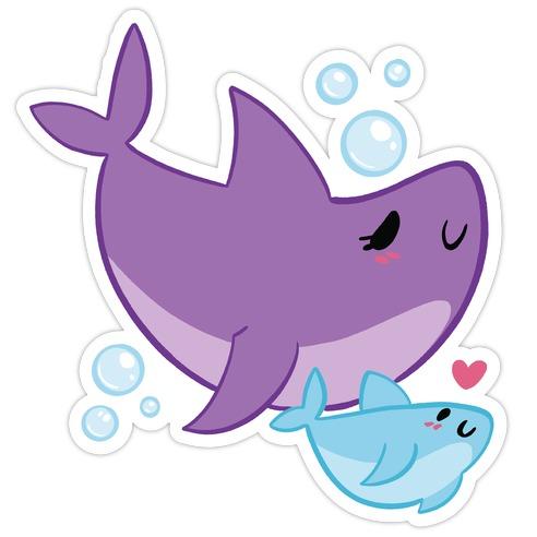 Mama Shark And Baby Die Cut Sticker