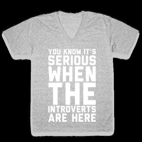 Introvert Protest White Print V-Neck Tee Shirt