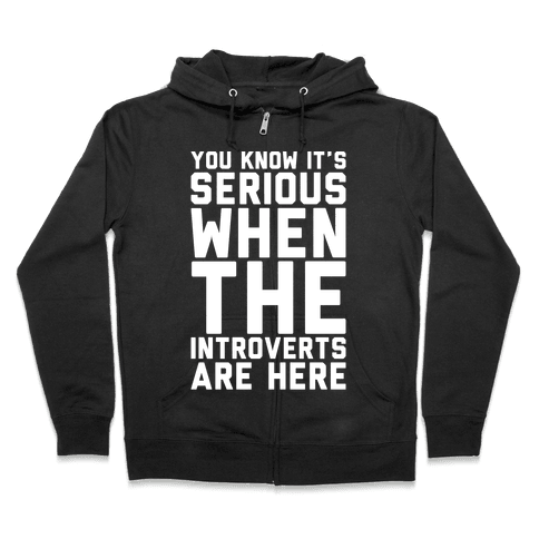 Introvert Protest White Print Zip Hoodie