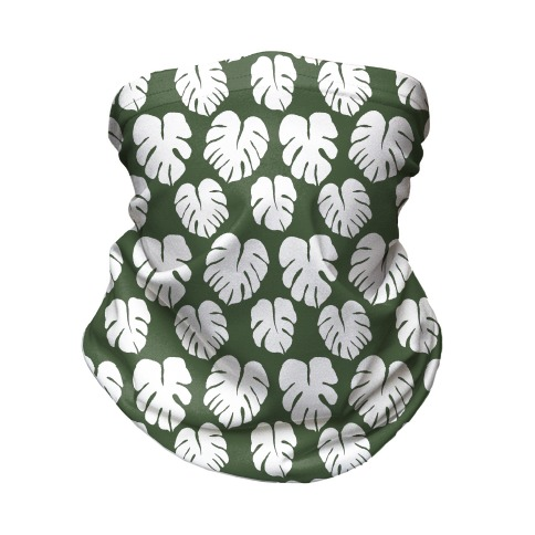 Monstera Simple Boho Pattern Green and White Neck Gaiter