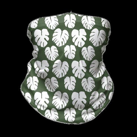 Monstera Simple Boho Pattern Green and White Neck Gaiter