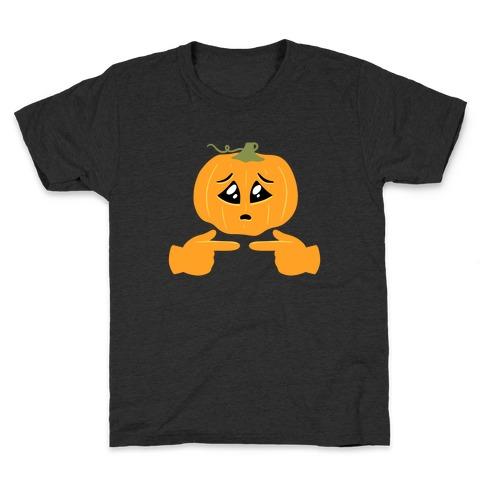 Shy Emoji Jack-o-Lantern Kids T-Shirt