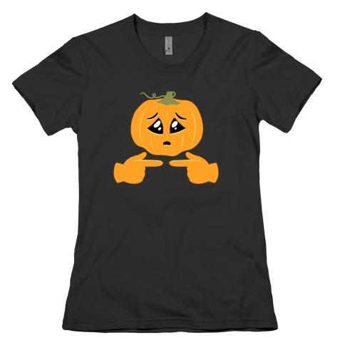 Shy Emoji Jack-o-Lantern Womens T-Shirt