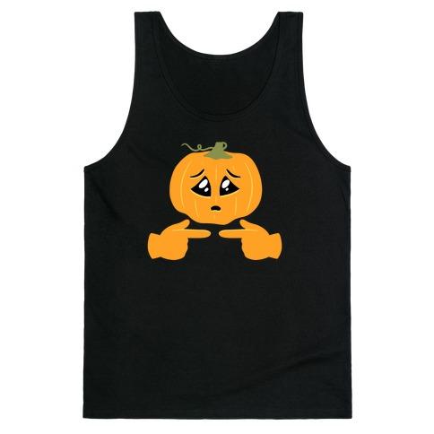 Shy Emoji Jack-o-Lantern Tank Top