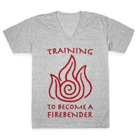 Training to Become A Firebender V-Neck Tee Shirt