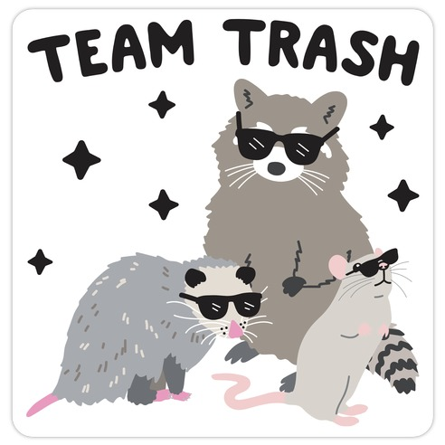 Team Trash Opossum Raccoon Rat Die Cut Sticker
