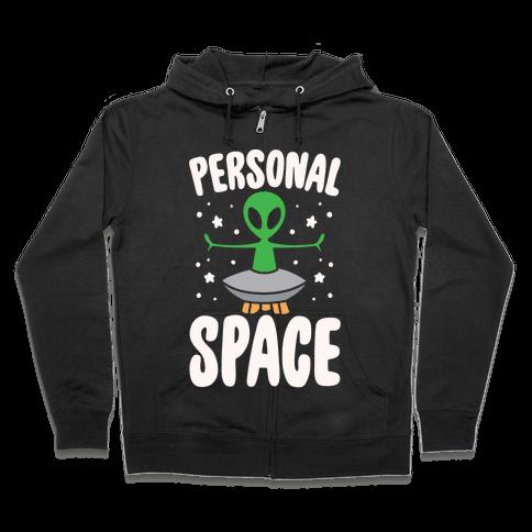 Personal Space White Print Zip Hoodie