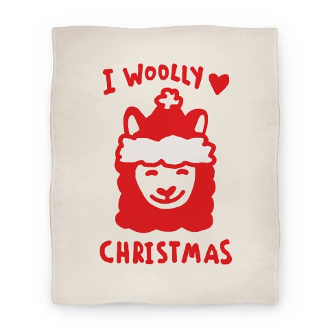 I Woolly Love Christmas Llama Blanket