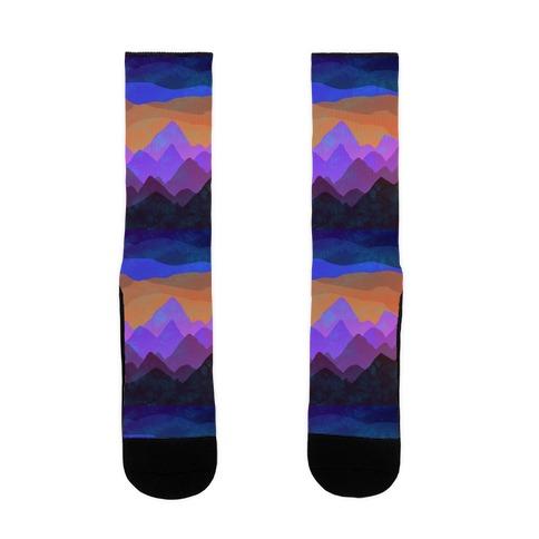 Abstract Mountain Sunset Sock