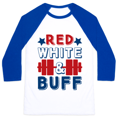 Red, White and Buff Baseball Tee
