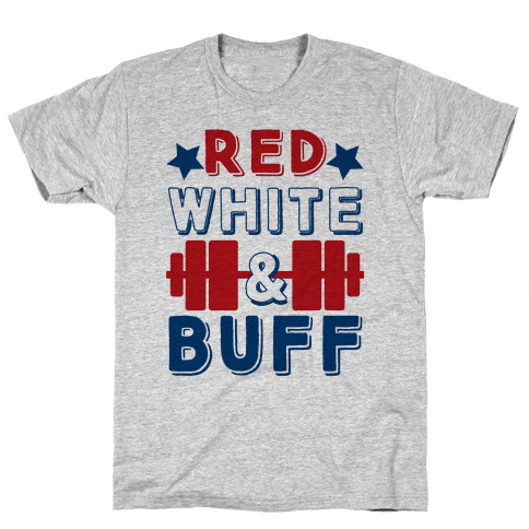 Red, White and Buff Mens T-Shirt