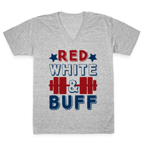 Red, White and Buff V-Neck Tee Shirt