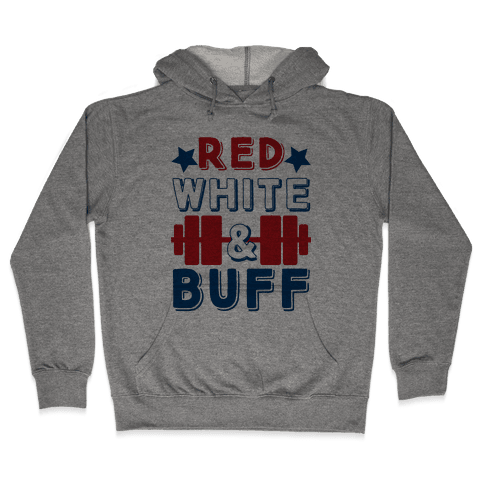 Red, White and Buff Hooded Sweatshirt