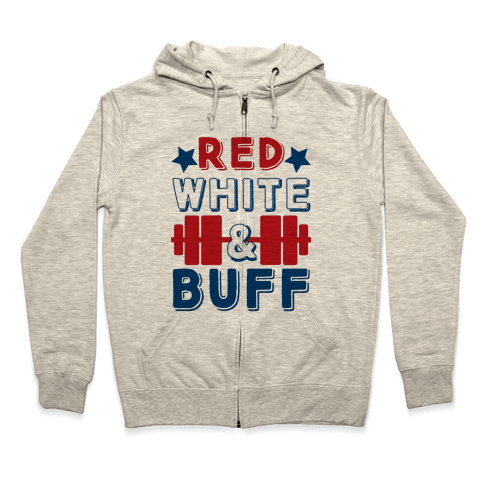 Red, White and Buff Zip Hoodie