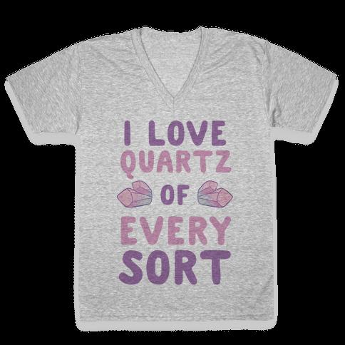 I Love Quartz of Every Sort V-Neck Tee Shirt