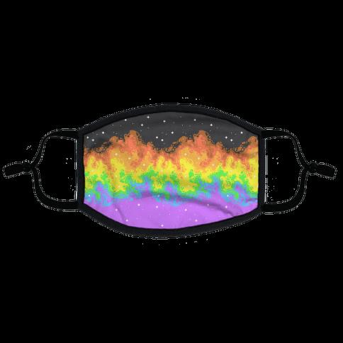 Psychedelic Nebula Pride Flag Flat Face Mask