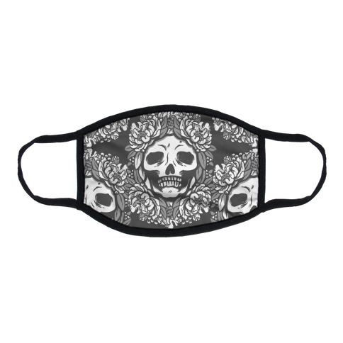 Floral Skulls Pattern Grey Flat Face Mask