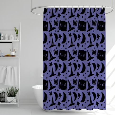 Witchy Halloween Pattern Shower Curtain
