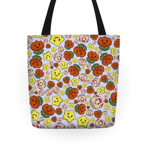 Stuffed Powerups Pattern Tote