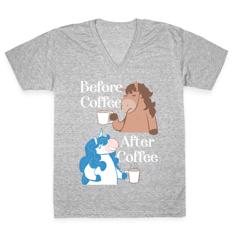 Before Coffee and After Coffee V-Neck Tee Shirt