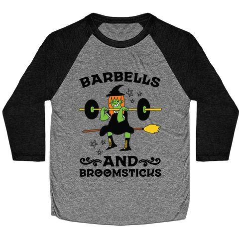 Barbells And Broomsticks Baseball Tee