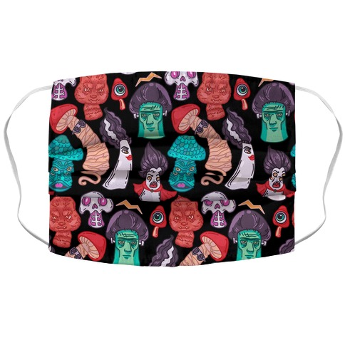 Mushroom Monsters Pattern Accordion Face Mask