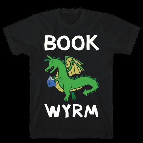Book Wyrm Dragon Mens T-Shirt