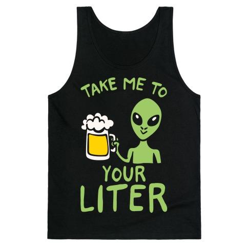 Take Me To Your Liter Alien Beer Parody White Print Tank Top