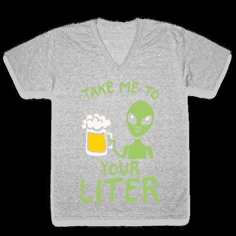 Take Me To Your Liter Alien Beer Parody White Print V-Neck Tee Shirt