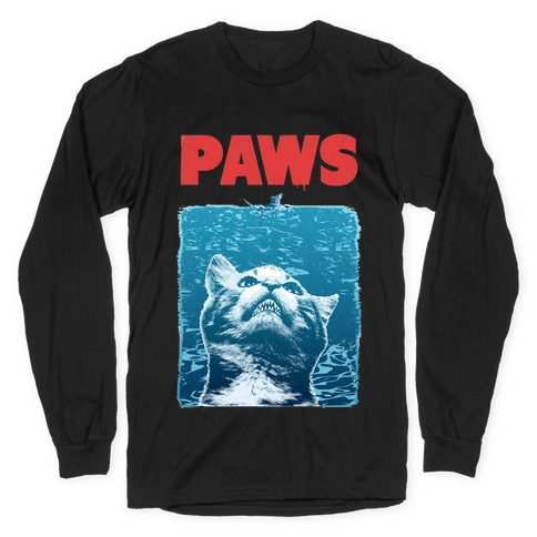 PAWS (Jaws Parody) Long Sleeve T-Shirt