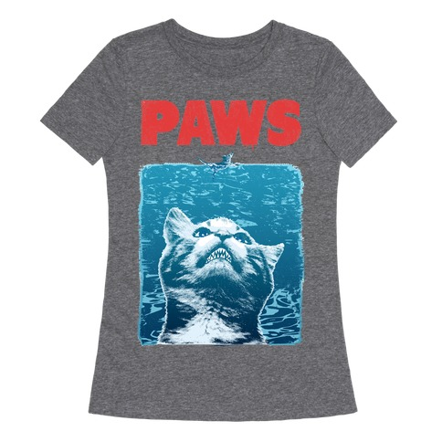 PAWS (Jaws Parody) Womens T-Shirt