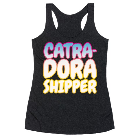 Catradora Shipper Parody White Print Racerback Tank Top