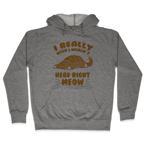 I Really Wish I Weren't Here Right Meow Hooded Sweatshirt