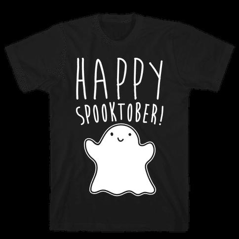 Happy Spooktober Halloween Parody White Print Mens T-Shirt