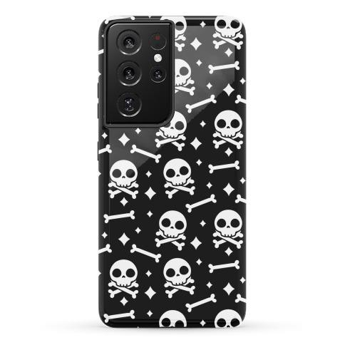 Cute Skull N' Bones Pattern (Black) Phone Case