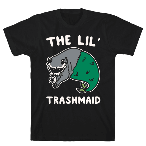 The Lil' Trashmaid Raccoon Mermaid Parody White Print Mens T-Shirt