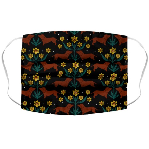 Dachshunds and Daffodils Black Accordion Face Mask