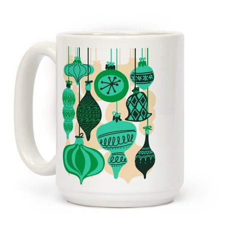 Green Holiday Ornament Pattern Coffee Mug