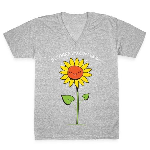 I'm Gonna Soak Up The Sun Sunflower V-Neck Tee Shirt