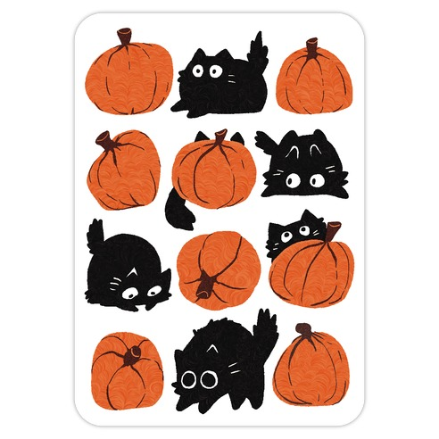 Pumpkin Cats Die Cut Sticker