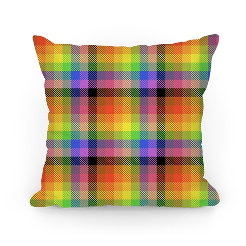 Pride Flag Plaid Pillow