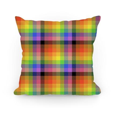 Pride Flag Plaid Pillow